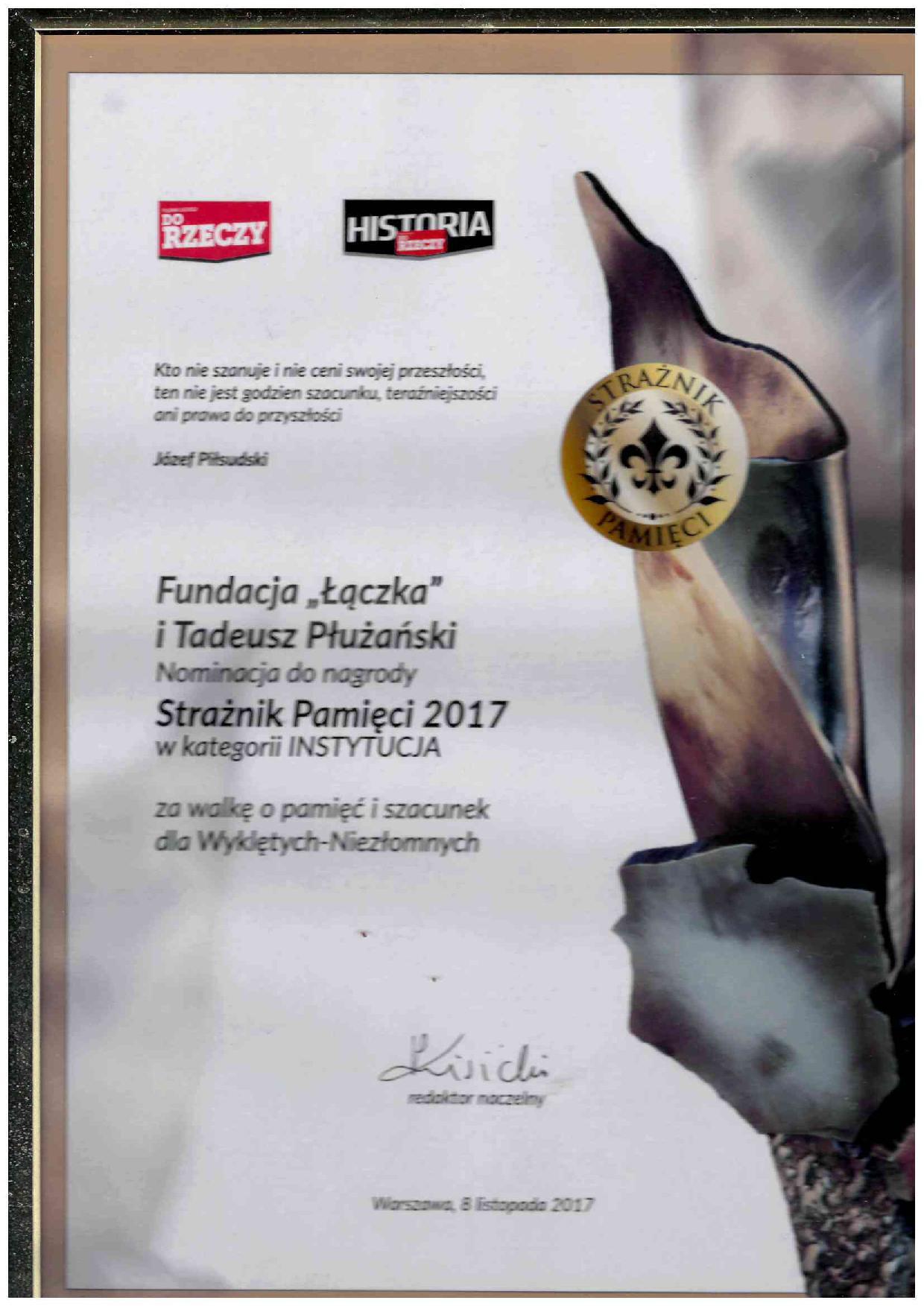 Nominacja do nagrody Strażnik Pamięci